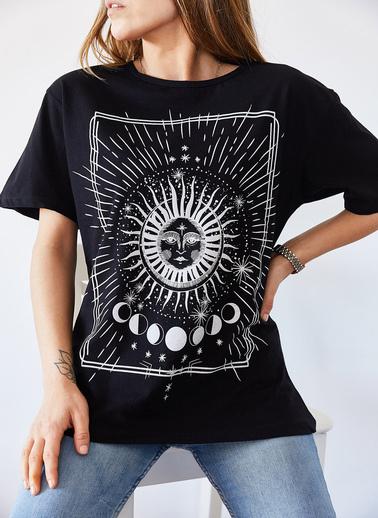 XHAN Etnik Baskılı Tişört 9Kxk1-43322-02 Siyah